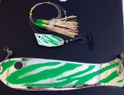 "'Green Tribal Chrome' Cut-Bait Rig 10"" Weiner Combo NEW 2015"